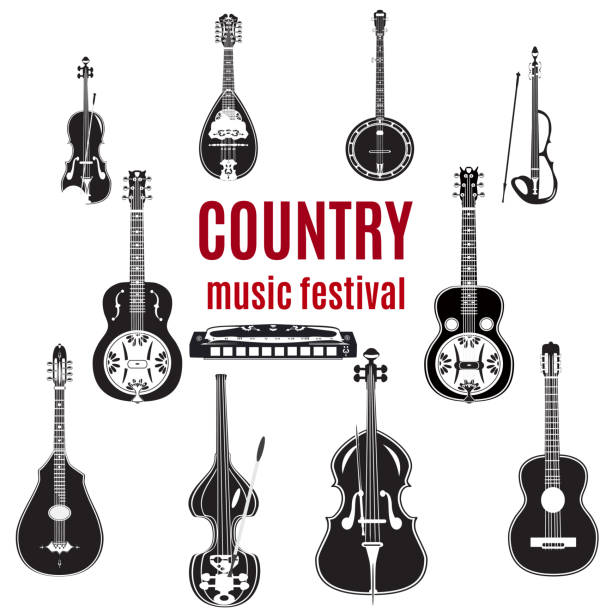 vector set of country music instruments, black and white design - instrument strunowy stock illustrations