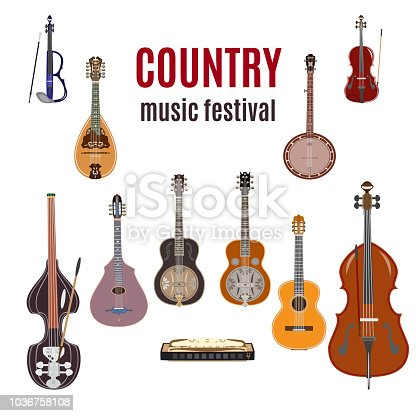 Vector set of country music instruments. Flat style design elements isolated on white background.