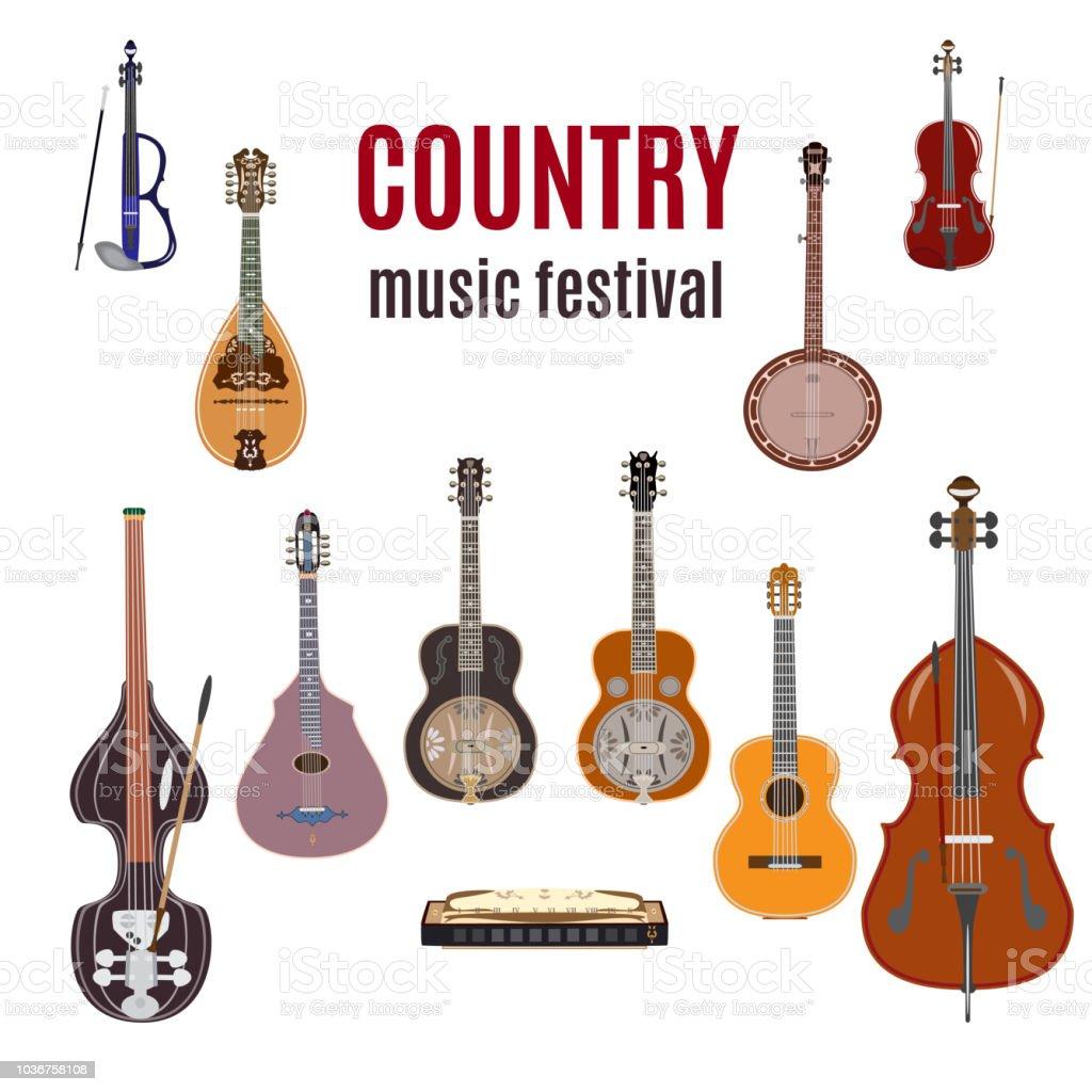 Vector set of country music instruments, flat design. vector art illustration