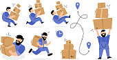 Vector set of creative illustration of delivery man in blue color uniform with box parcel in different poses on white background. Flat style design of delivery service for web, site, banner, poster, advertising