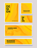 Vector set of creative yellow abstract different paper cut style illustration in frame. Business abstraction background with header. Template composition design for web, site, banner, print, poster, presentation