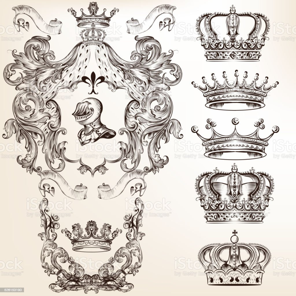 Vector Set Of Crowns And Detailed Shields For Your ...
