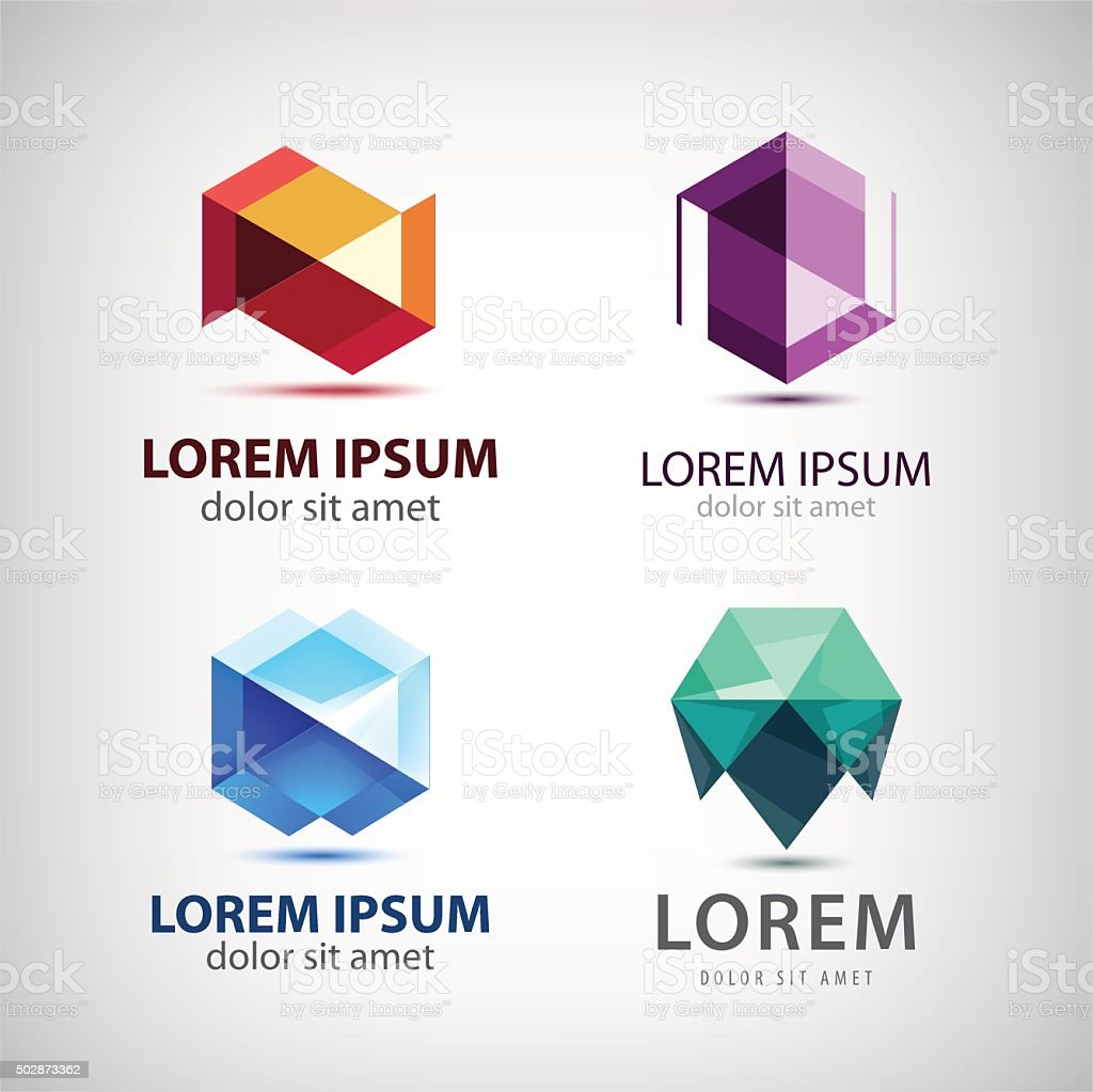 Vector Set Of Crystal 3d Logos Icons Signs Stock
