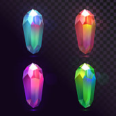 Isolated set of magic shining crystals on a transparent background, gemstones
