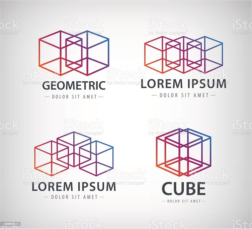 Vector set of cube construction logos, icons vector art illustration