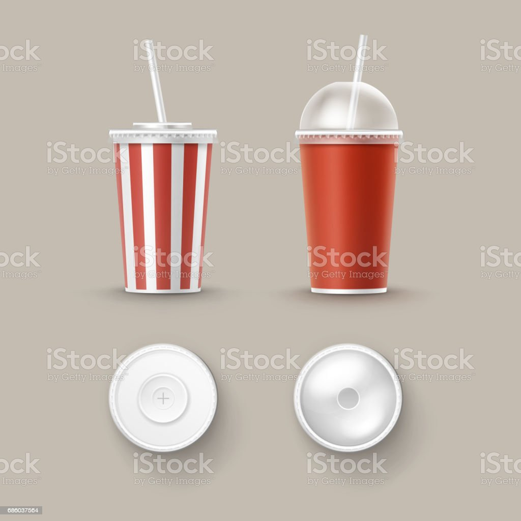 Vector Set of Cups For Soft Drinks vector art illustration