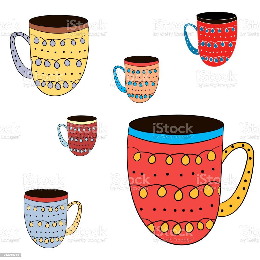 Ilustración de Vector Conjunto De Tazas De Té Café Leche Para ...
