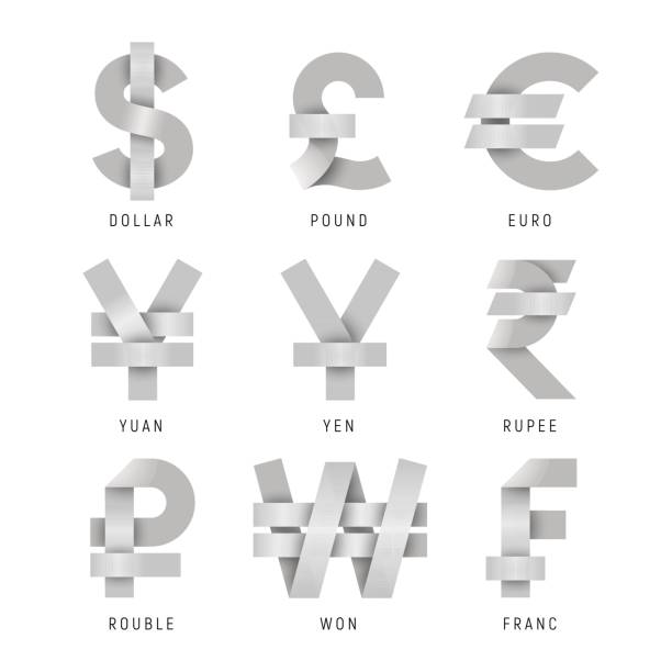 Vector Set of Currency icons made of intersected paper ribbons. Set of Currency icons made of intersected paper ribbons isolated on white background. Vector collection of currency symbols: dollar, pound, euro, yuan, yen, rupee, ruble. won, franc. japanese currency stock illustrations
