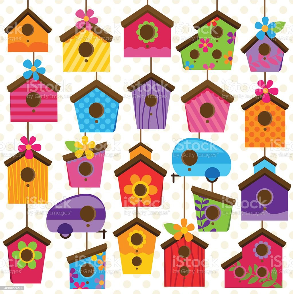 Vector Set of Cute and Colorful Bird Houses royalty-free stock vector art