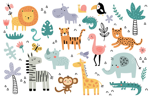 vector set of cute and funny african animals