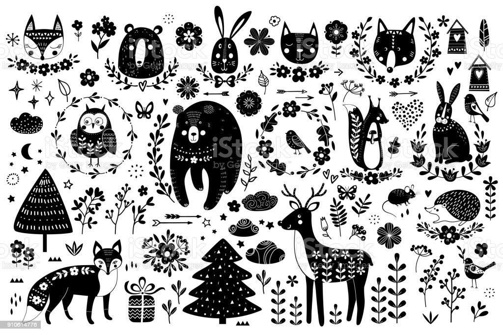 Vecteur série d'animaux mignons: renard, ours, lapin, écureuil, wolf, hérisson, Hibou, cerf, chat, souris, oiseaux. Collection d'éléments graphiques: fleurs, nuages, étoiles, flèches. vecteur série danimaux mignons renard ours lapin écureuil wolf hérisson hibou cerf chat souris oiseaux collection déléments graphiques fleurs nuages étoiles flèches vecteurs libres de droits et plus d'images vectorielles de affiche libre de droits