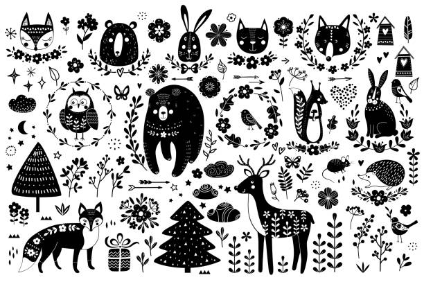 Vector set of cute animals: fox, bear, rabbit, squirrel, wolf, hedgehog, owl, deer, cat, mouse, birds. Collection of graphic elements: flowers, stars, clouds, arrows. vector art illustration