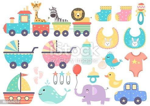 istock Vector set of cute baby elements 859424212