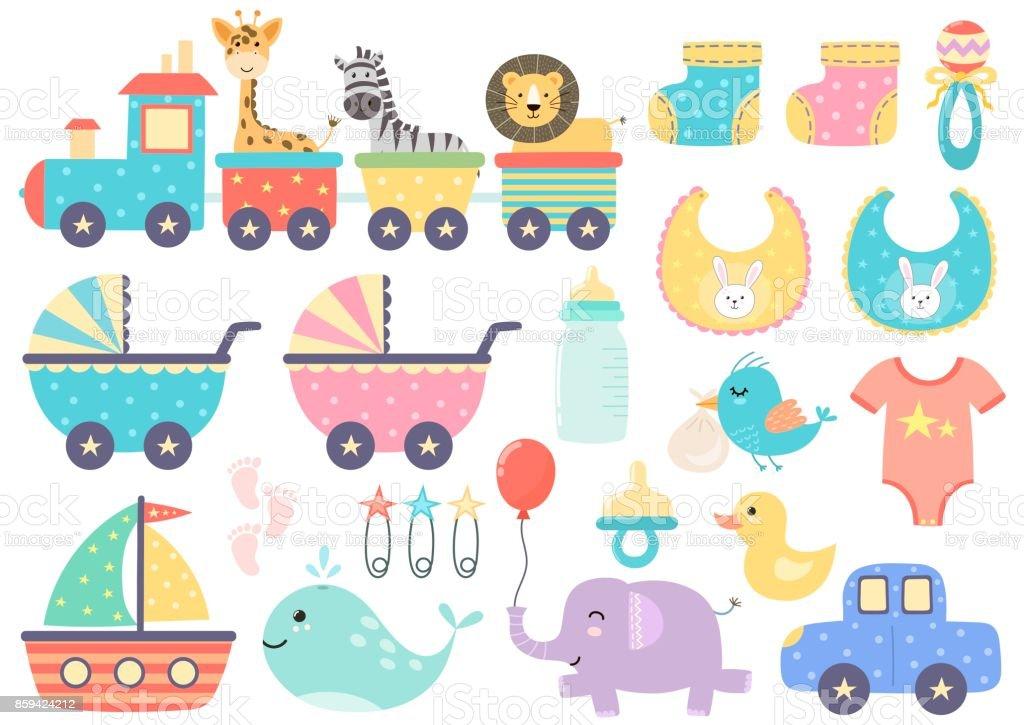 Ensemble de vecteur d'éléments de bébé mignon - Illustration vectorielle