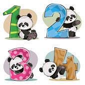 Vector set of cute baby panda bears with numbers