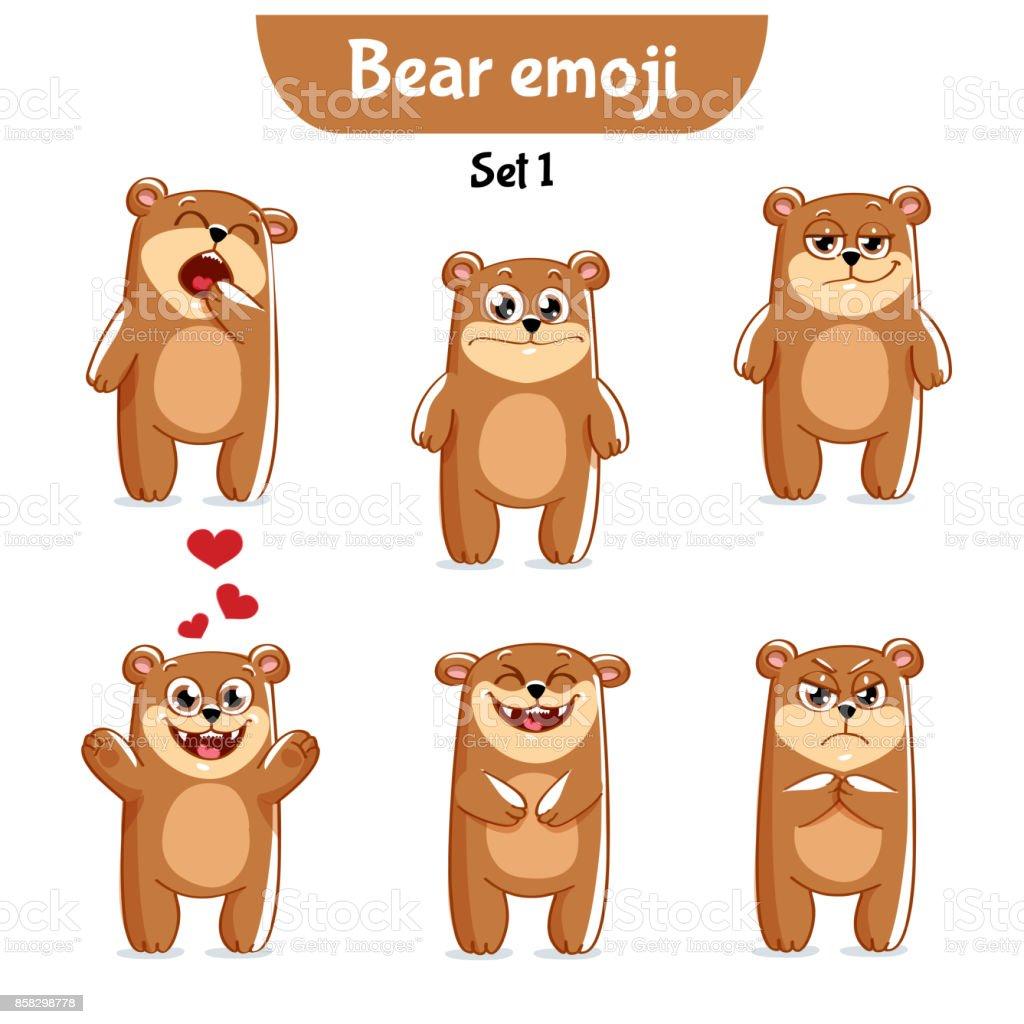 Vector set of cute bear characters. Set 1 vector art illustration