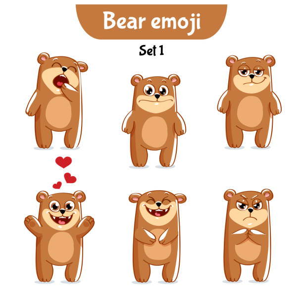 vector set of cute bear characters. set 1 - jealous emoji stock illustrations, clip art, cartoons, & icons