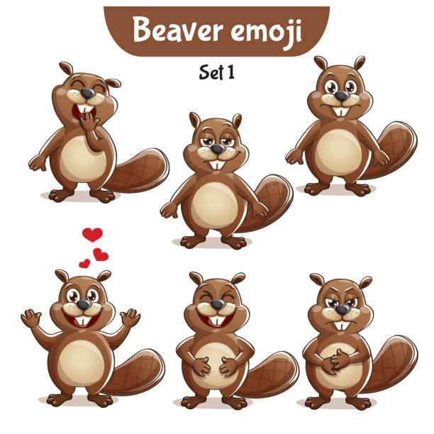 vector set of cute beaver characters. set 1 - jealous emoji stock illustrations, clip art, cartoons, & icons