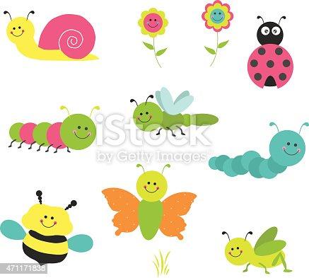istock Vector Set of Cute Cartoon Bugs 471171838