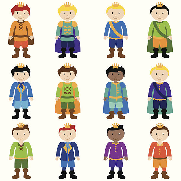 Vector Set of Cute Cartoon Princes Vector Set of Cute Cartoon Princes. No transparencies or gradients used. Large JPG included. Each element is individually grouped for easy editing. peter pan stock illustrations
