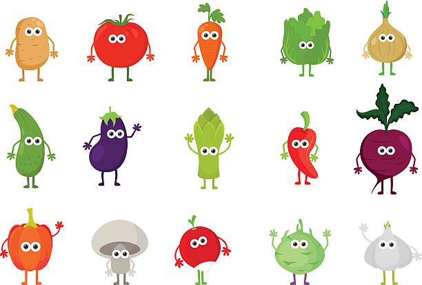 Vector set of cute cartoon vegetable characters Food cartoon characters concept. Funny cute vegetables. asparagus stock illustrations