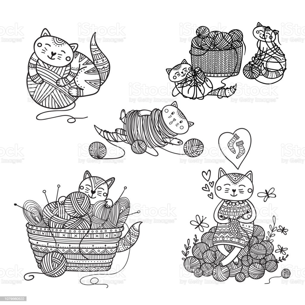 Vector set of cute cats playing with yarn ball coloring vector art illustration