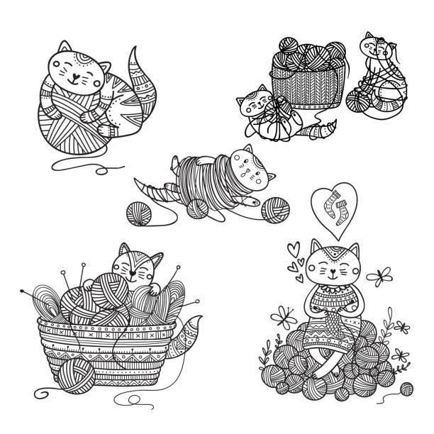Royalty Free Knitting Basket Clip Art, Vector Images ...