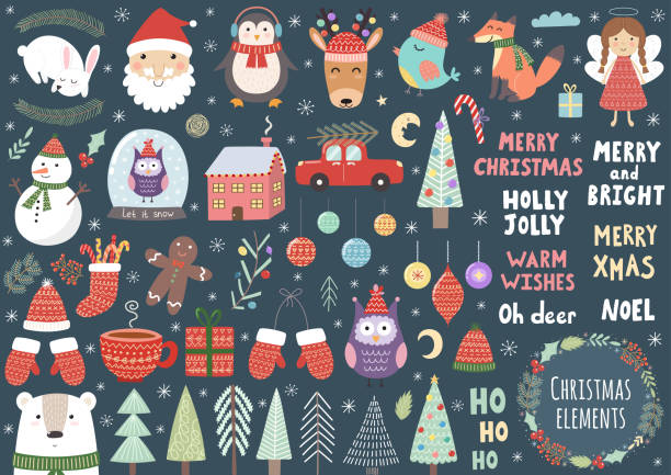 Vector set of cute Christmas elements Vector set of cute Christmas elements: Santa, penguin, deer, bear, fox, owl, trees, snowman, bird, angel and more candy clipart stock illustrations