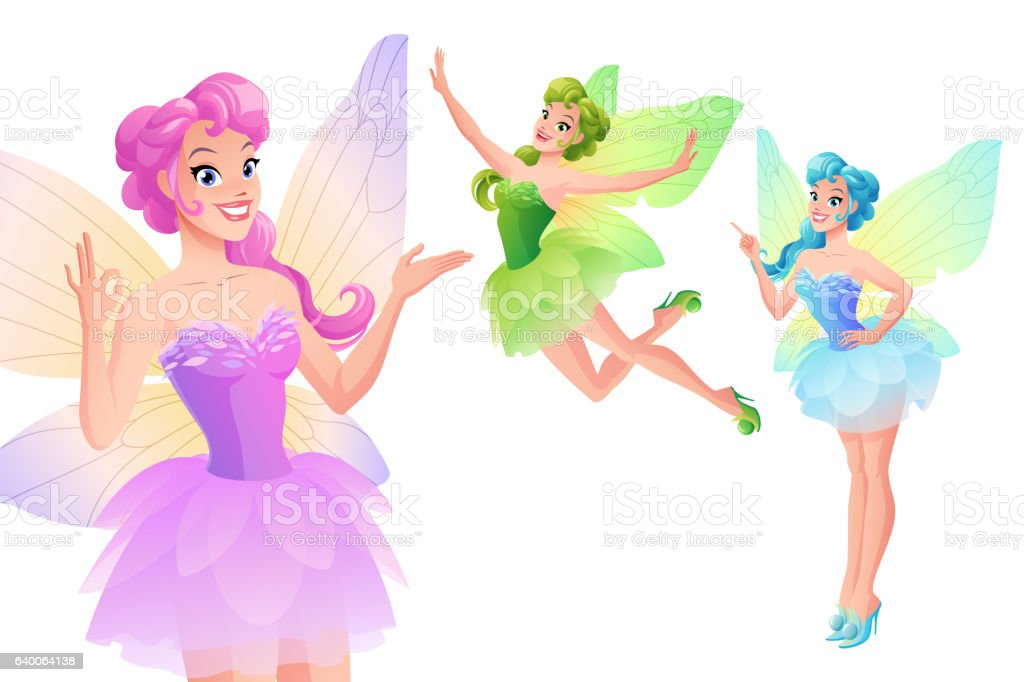 Vector set of cute colorful fairies with butterfly wings. vector art illustration