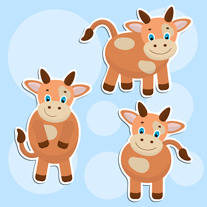 Vector set of cute cow stickers