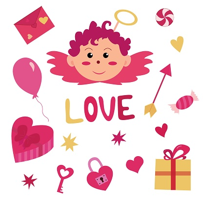 Vector set of cute cupid and items for Valentine's Day. Heart, love letter, presents, sweets and other elements
