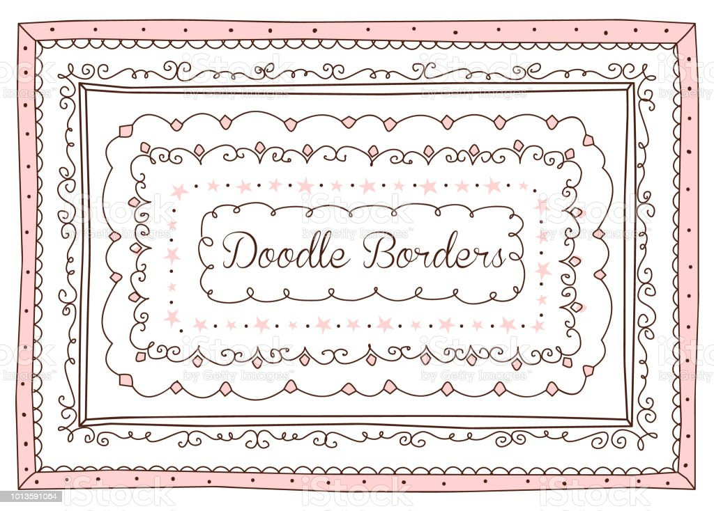vector set of cute doodle frames and borders hand drawn design