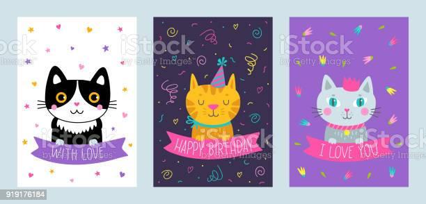 Vector set of cute greeting cards with cat vector id919176184?b=1&k=6&m=919176184&s=612x612&h=zwcsnystqduf 5yurd2c2g7wykjc200xj3yr5neq i4=
