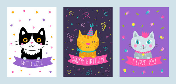 Vector Set Of Cute Greeting Cards With Cat Art Illustration