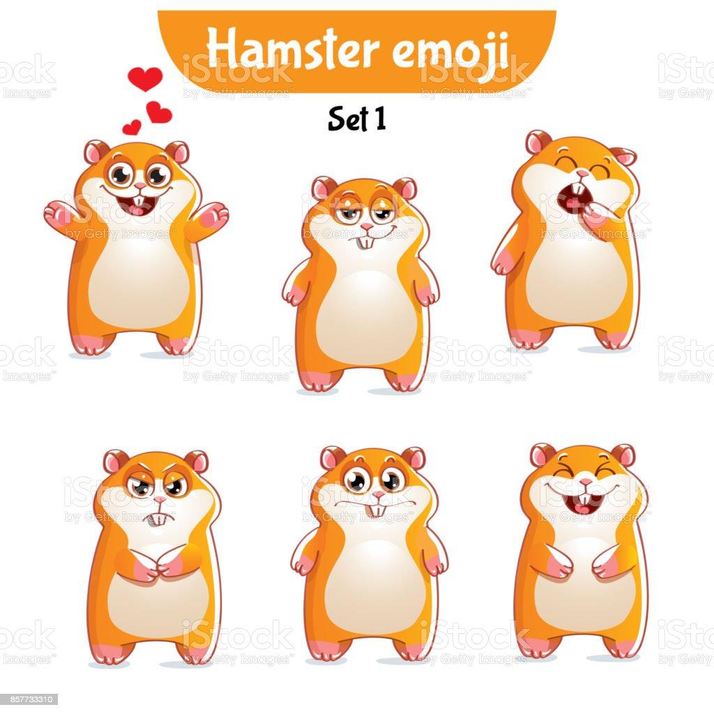 Vector set of cute hamster characters. Set 1 vector art illustration