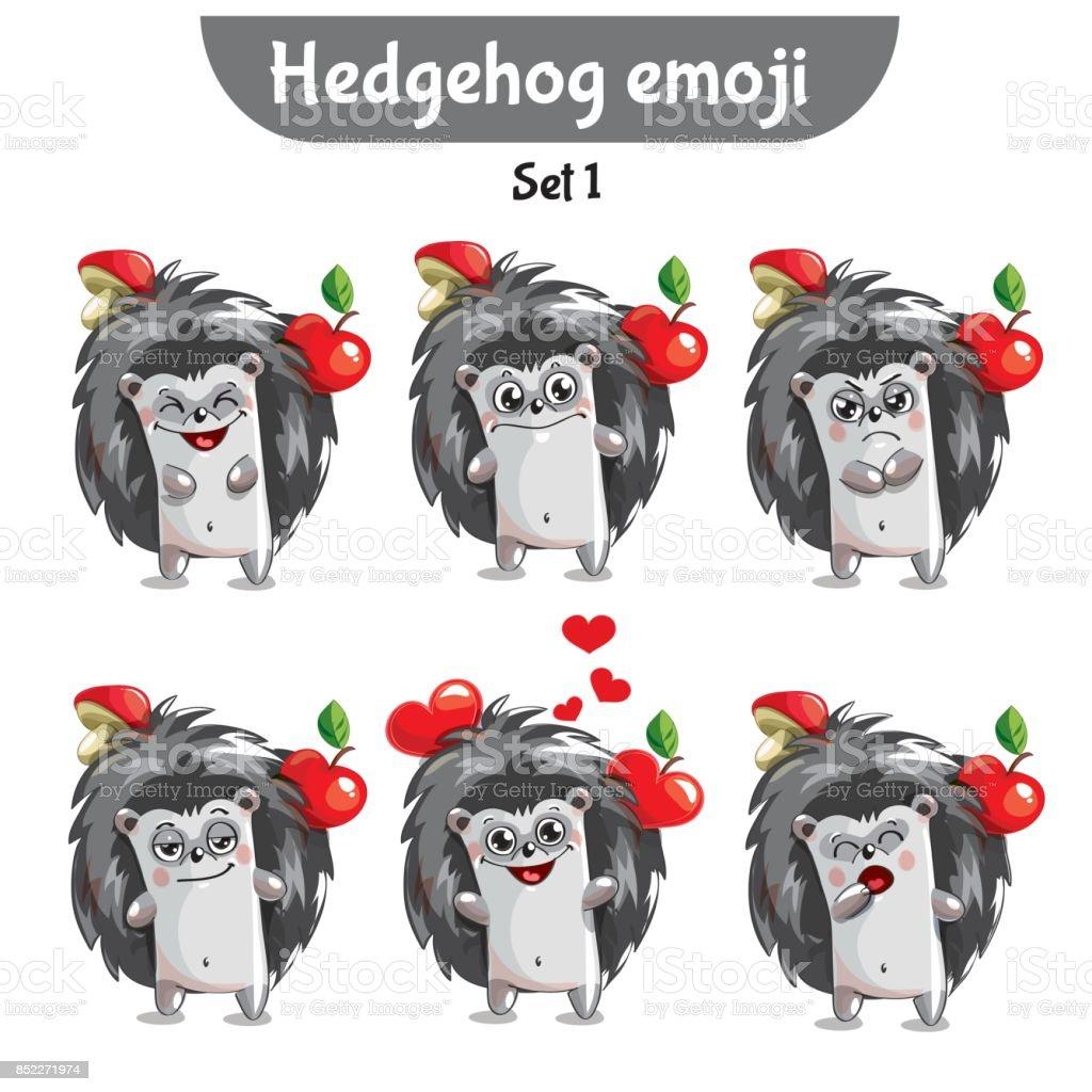 Vector set of cute hedgehog characters. Set 1 vector art illustration
