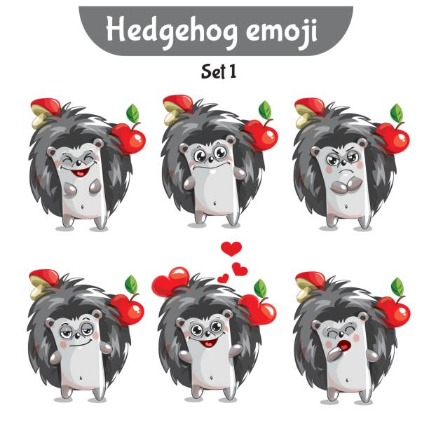 vector set of cute hedgehog characters. set 1 - jealous emoji stock illustrations, clip art, cartoons, & icons