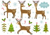 Vector set of cute isolated deers and christmas trees