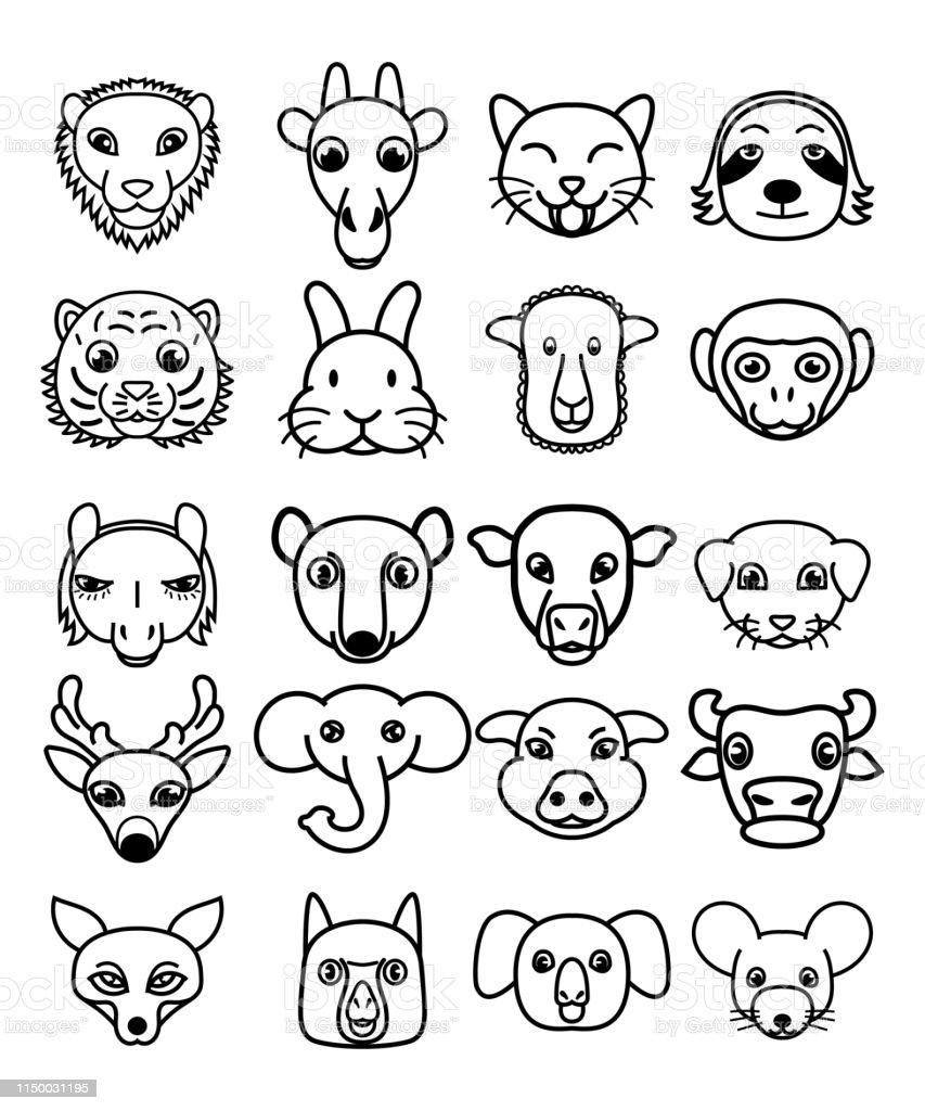 Vector Set Of Cute Kawaii Cartoon Animals Stock Illustration