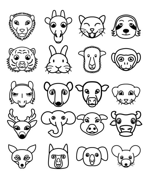 Ensemble de vecteur de mignons animaux de dessin animé kawaii. - Illustration vectorielle