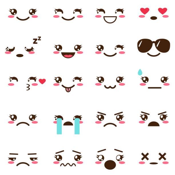 vector set of cute kawaii emoji - anime girl stock illustrations