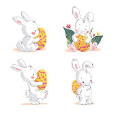 Vector set of cute little Easter bunny with easter eggs isolated on white background. Hand drawn style. For easter egg hunt banners, posters, holiday placards, cards, flayers templates etc.