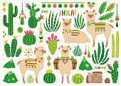 """Vector set of cute llamas and cacti. Bright summer poster with alpacas, cactus and phrase """"Hello"""" in Spanish. Collection of decorative scrapbooking elements. Isolated on white."""