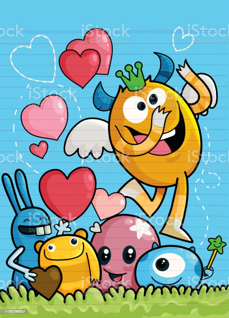 Vector Set Of Cute Love Monsters Cute Monsters Group In Love With Pink Heartmonster Cartoon Style Funny Bright Childrens For Your Design Stock Illustration Download Image Now Istock