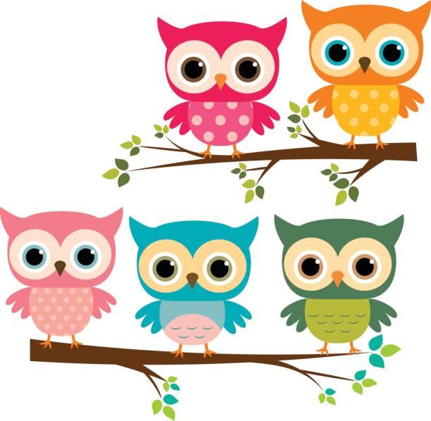 stockillustraties, clipart, cartoons en iconen met vector set van schattige uilen en cartoon takken - uil