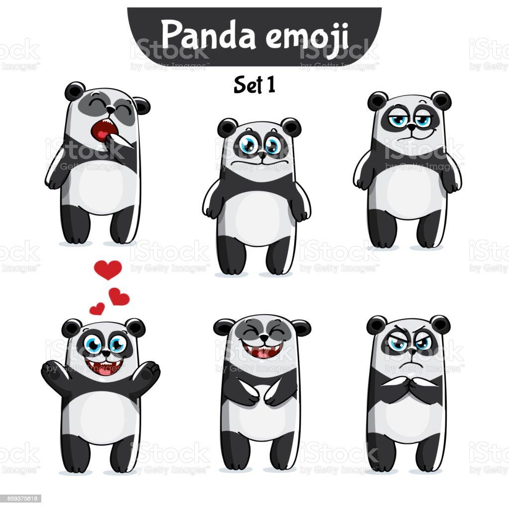 Vector set of cute panda characters. Set 1 vector art illustration