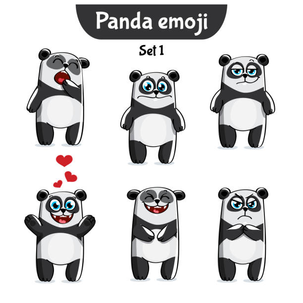 vector set of cute panda characters. set 1 - jealous emoji stock illustrations, clip art, cartoons, & icons