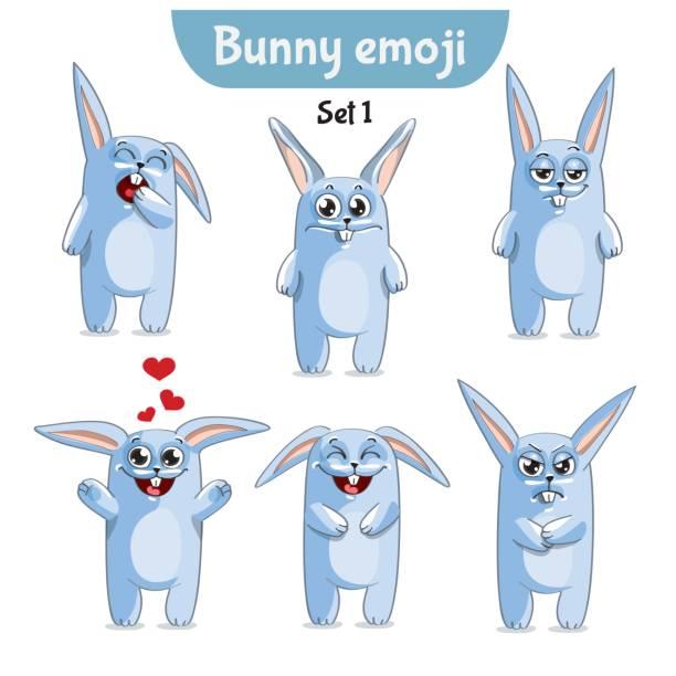 ilustraciones, imágenes clip art, dibujos animados e iconos de stock de conjunto de vector de caracteres de lindo conejo. set 1 - emoji celoso