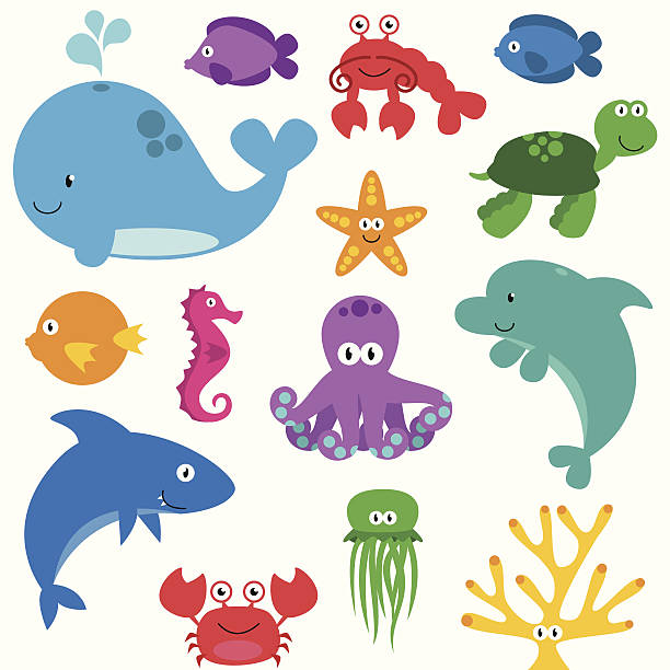 Vector Set of Cute Sea Creatures Vector Set of Cute Sea Creatures. No transparencies or gradients used. Large JPG included. Each element is individually grouped for easy editing. marine life stock illustrations