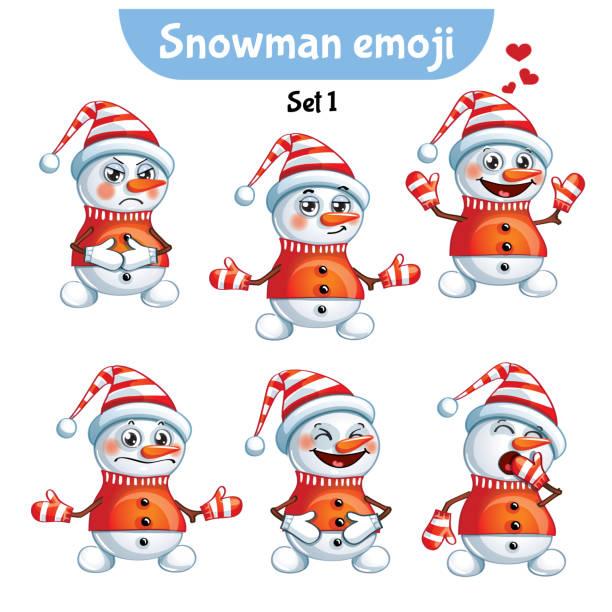 ilustrações, clipart, desenhos animados e ícones de conjunto de vetores de caracteres de boneco de neve bonito. conjunto de 1 - emoji ciumento